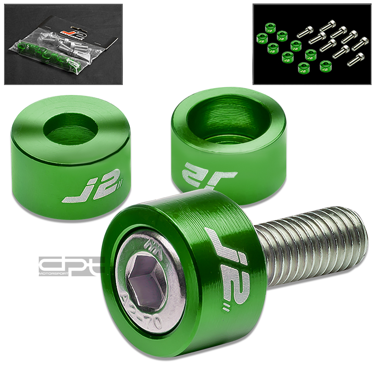 J2 JDM EXHAUST HEADER MANIFOLD METRIC CUP WASHER+BOLT/NUT KIT DC2/AP1/AP2 GREEN