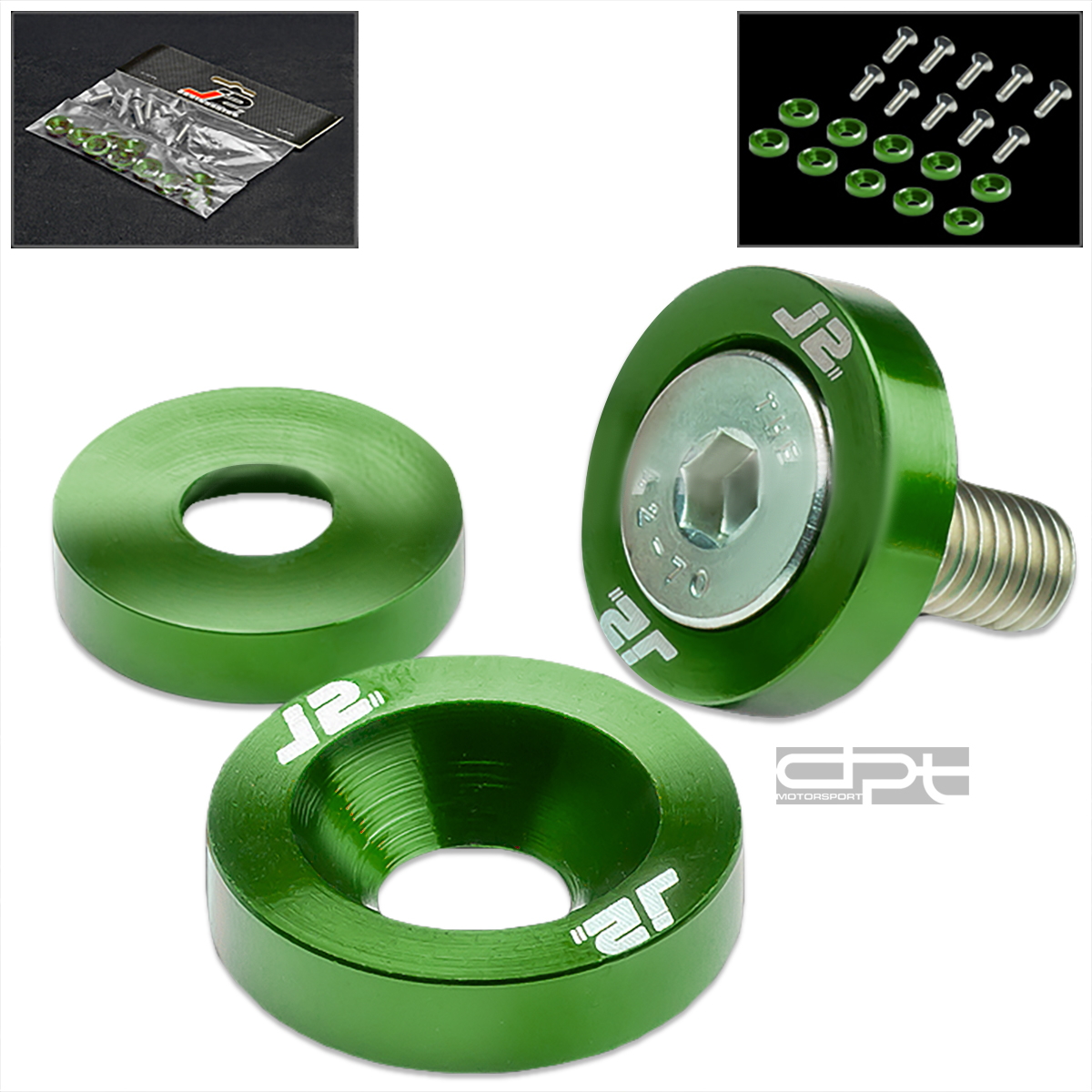 J2 JDM M6 X1 ENGINE BAY/FENDER/BUMPER/BODY METRIC CUP WASHER+BOLT/NUT KIT GREEN